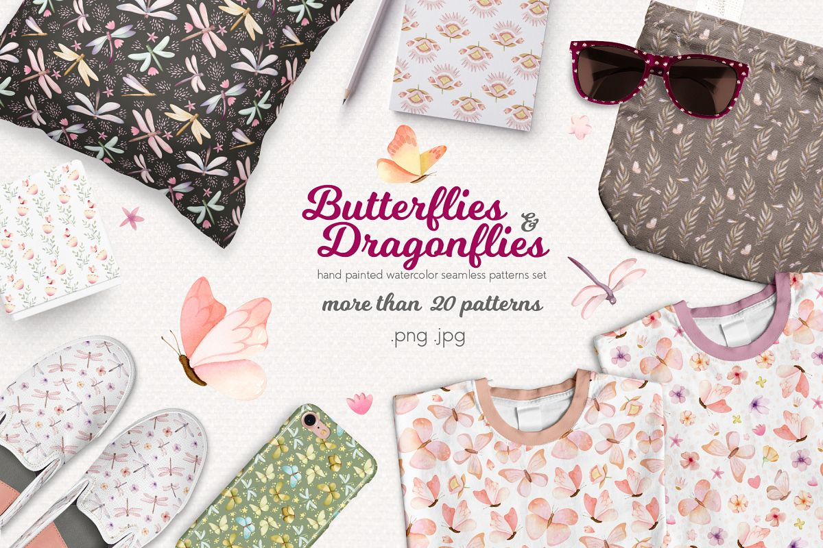 Butterflies and Dragonflies Patterns Collection example image 1