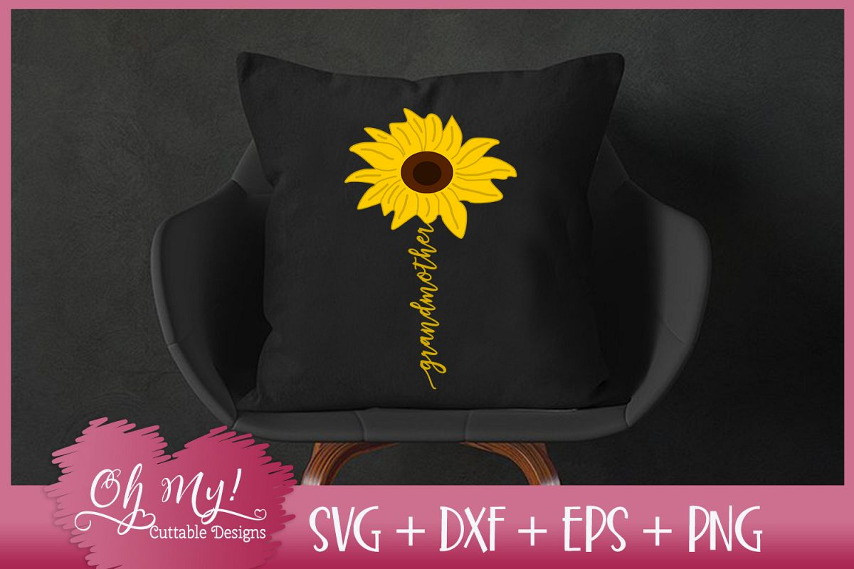 Grandmother Sunflower - SVG EPS DXF PNG Cutting File example image 1