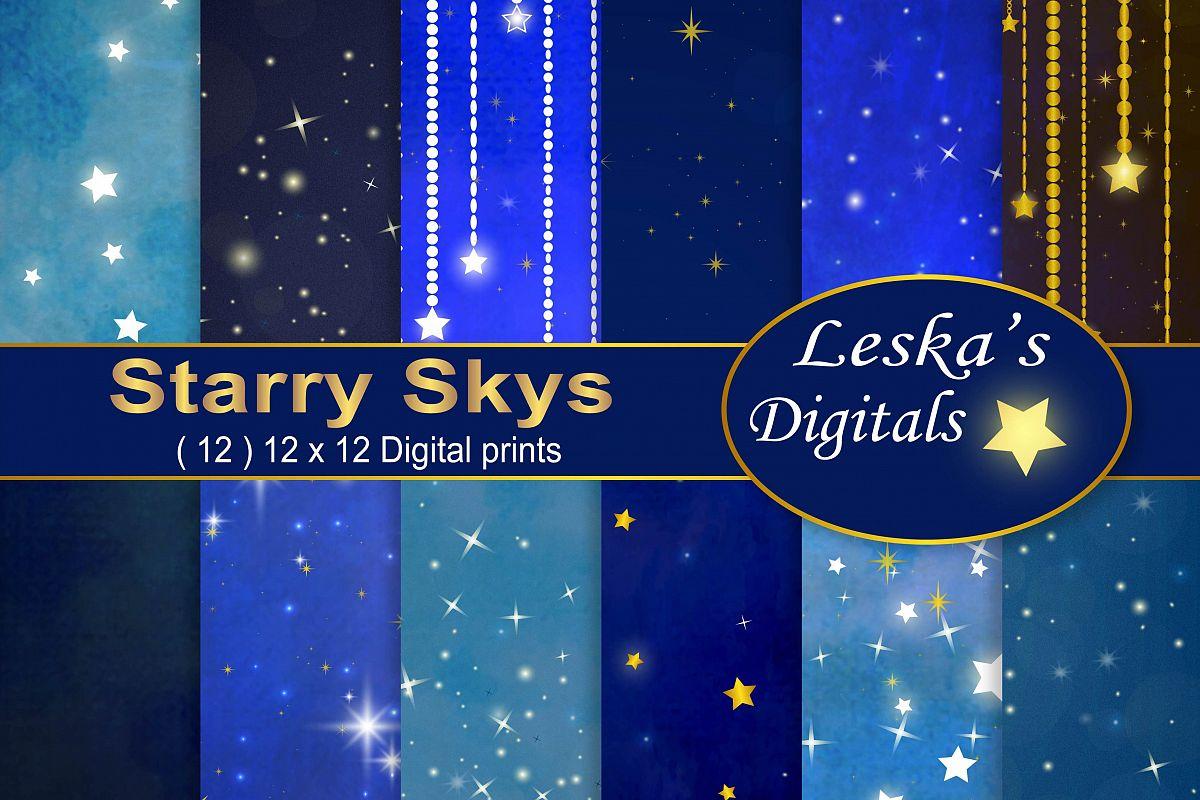 Starry Sky Digital Paper example image 1