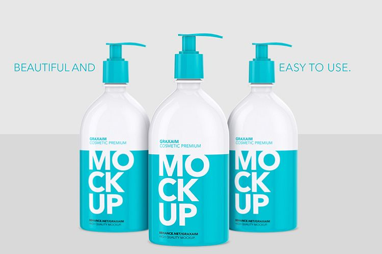 Shampoo Bottle with Lotion Pump 500ml - Mockup example image 1