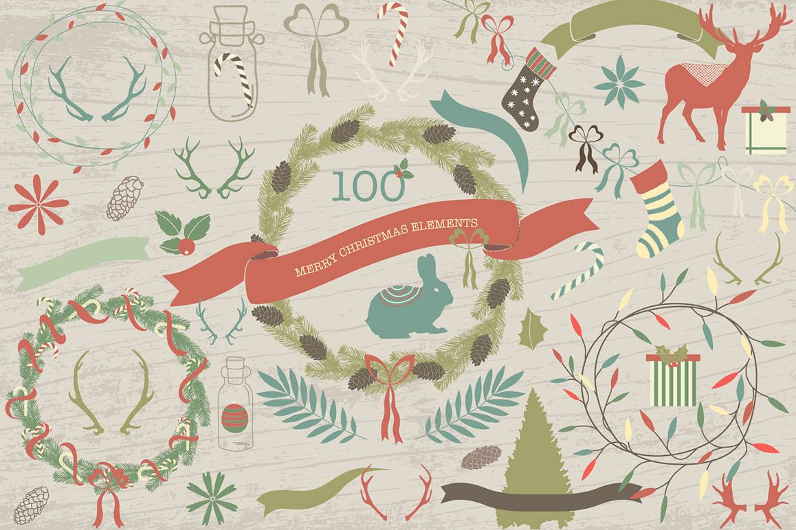 100 Merry Christmas Elements example image 1