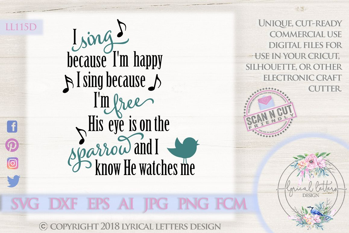 His Eye Is On the Sparrow Hymn SVG DXF LL115D example image 1
