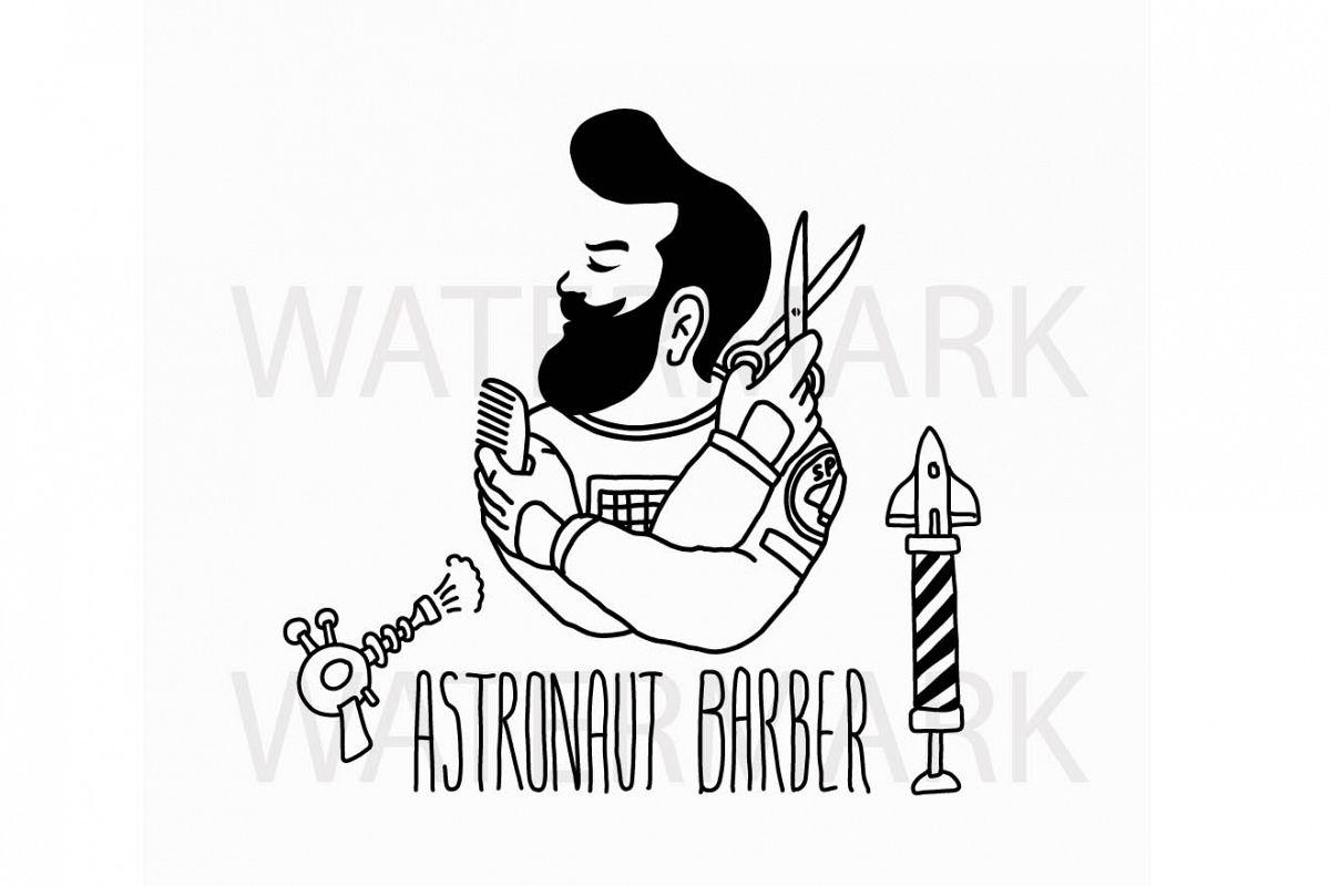 Astronaut Barber - Logo for Salon Barber shop - SVG/JPG/PNG Hand Drawing example image 1