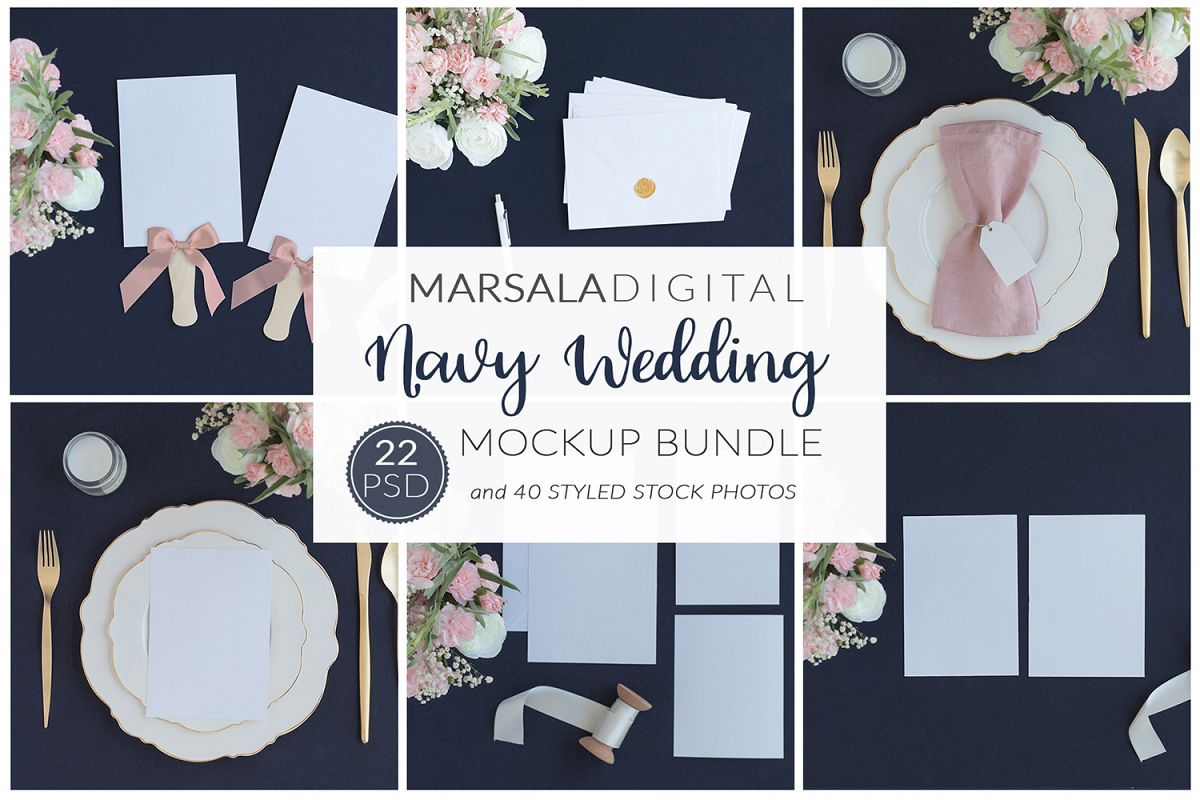 Blush and Navy Wedding Mockup Bundle example image 1