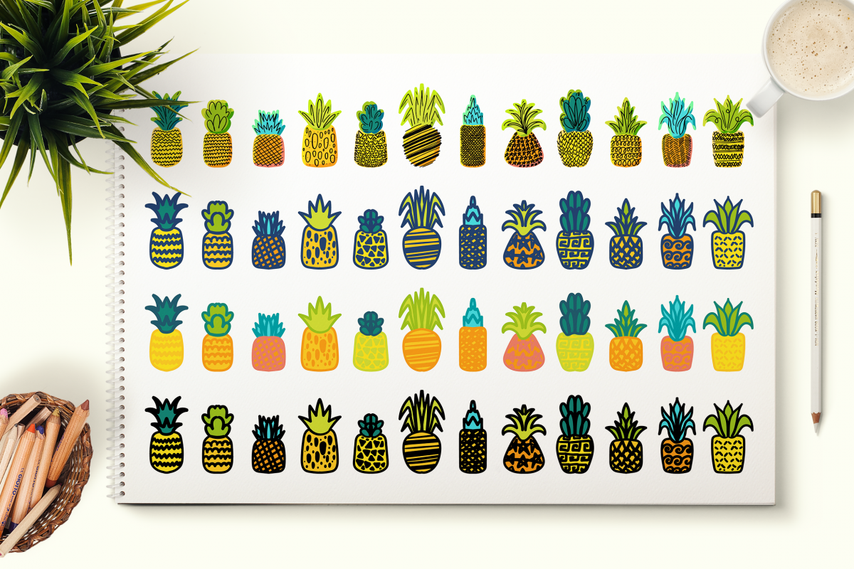 Cute Hand Drawn Pineapples Set example image 1