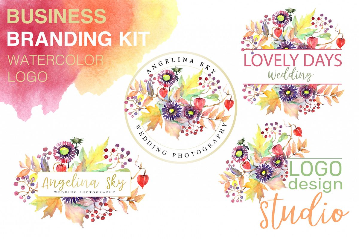 LOGO with asters, maple leaves and physalis Watercolor png example image 1
