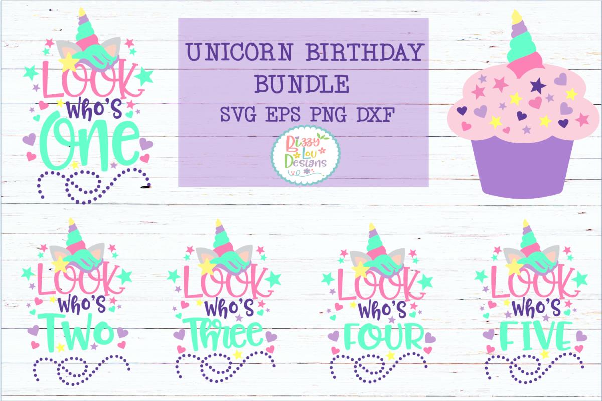 Unicorn Birthday Bundle SVG DXF EPS PNG cutting file example image 1