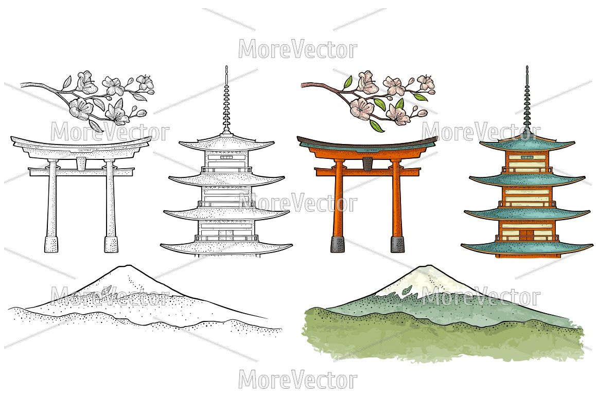 Mountain Fuji in Japan, pagoda, torii, cherry sakura branch with flowers and blossom. Vintage engraving  example image 1