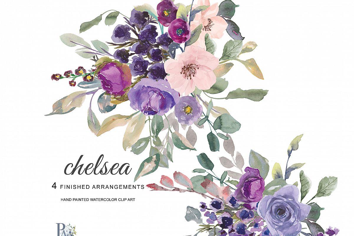 Watercolor Plum Lavender Blush Pink Dar Design Bundles
