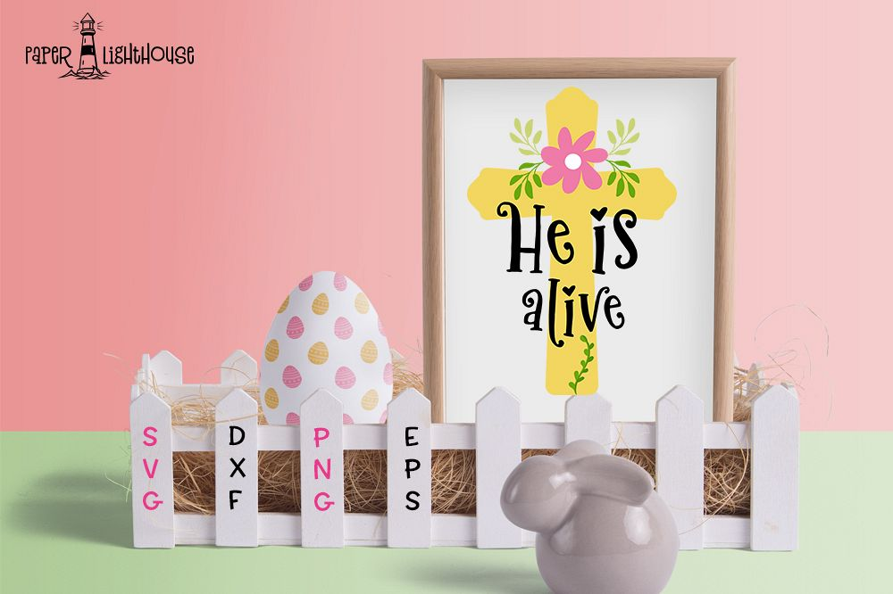 He is alive - Easter svg cut file, clipart, printable example image 1