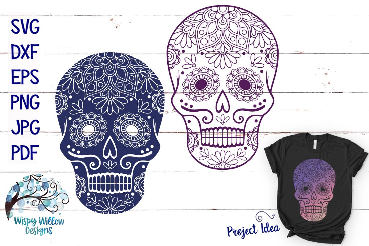 Sugar Skull SVG Cut Files example image 1