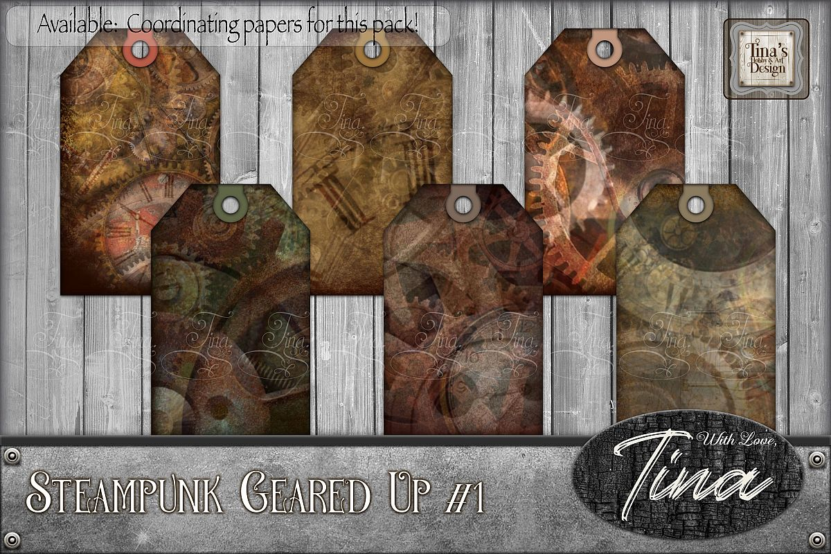 Steampunk Geared Up Gears Clocks Grunge Tags 092918GU1 example image 1