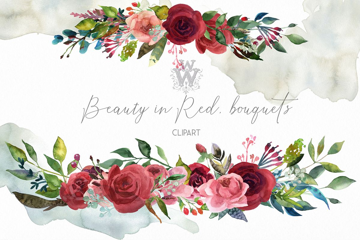 Watercolor bouquets with red roses, boho wreath wedding png example image 1