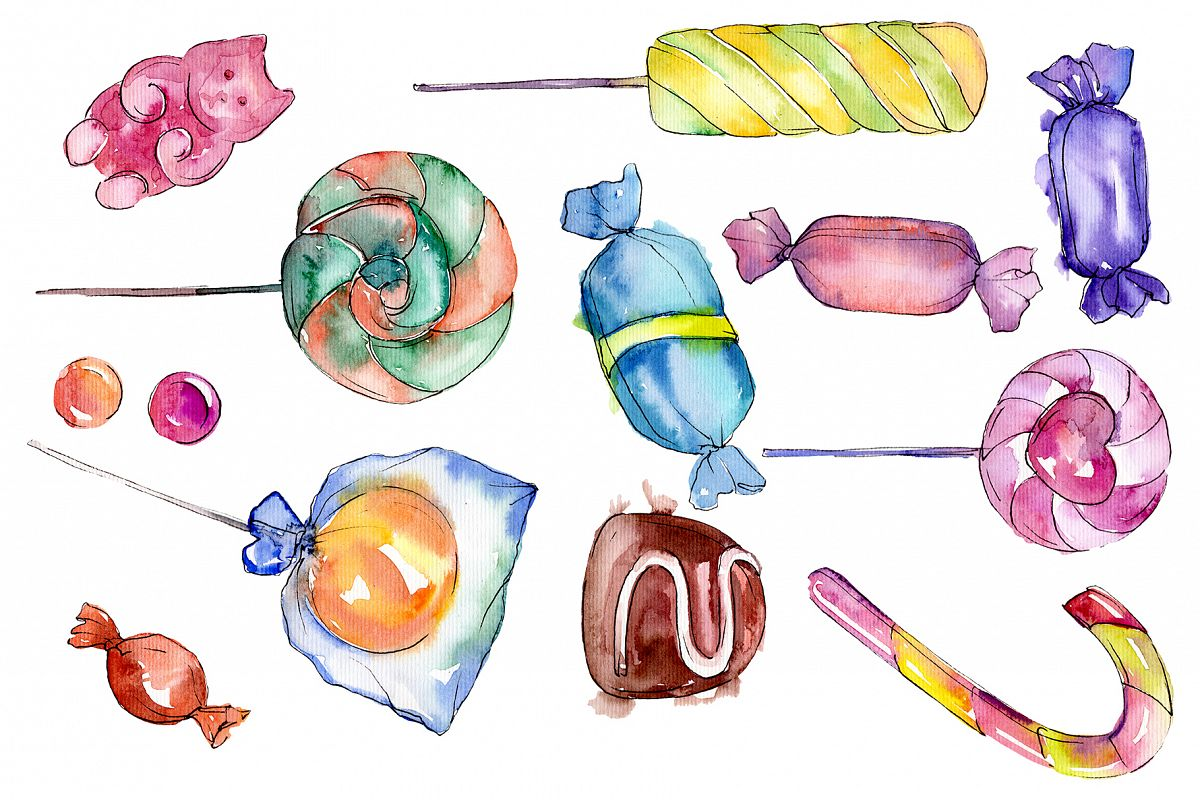 Candies aramel Watercolor png example image 1