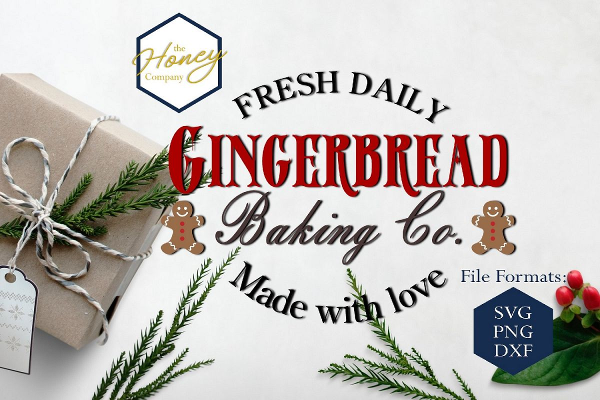 Gingerbreadr SVG DXF PNG Christmas Clipart Cutting File example image 1