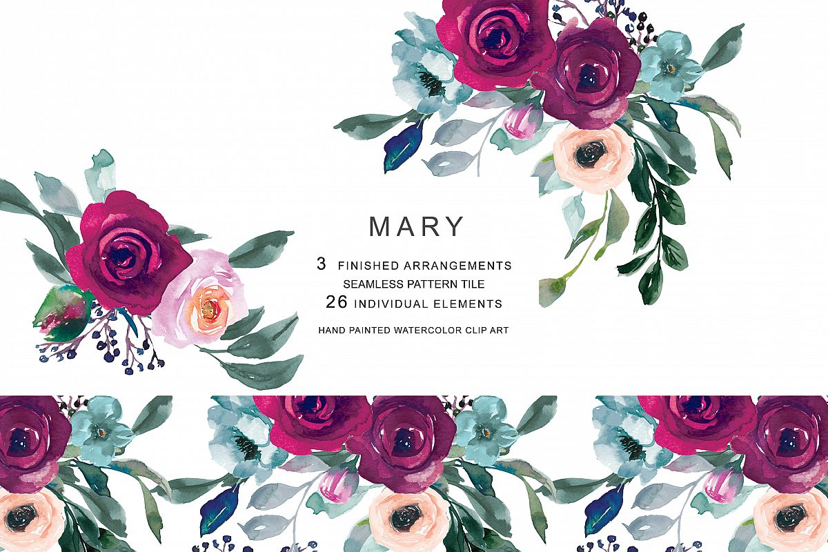 Watercolor Burgundy Pink Flowers Clipart