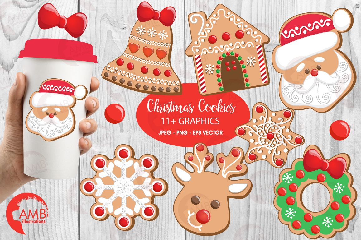 Christmas Cookie Clipart, GRAPHICS, ILLUSTRATIONS AMB-1539 example image 1