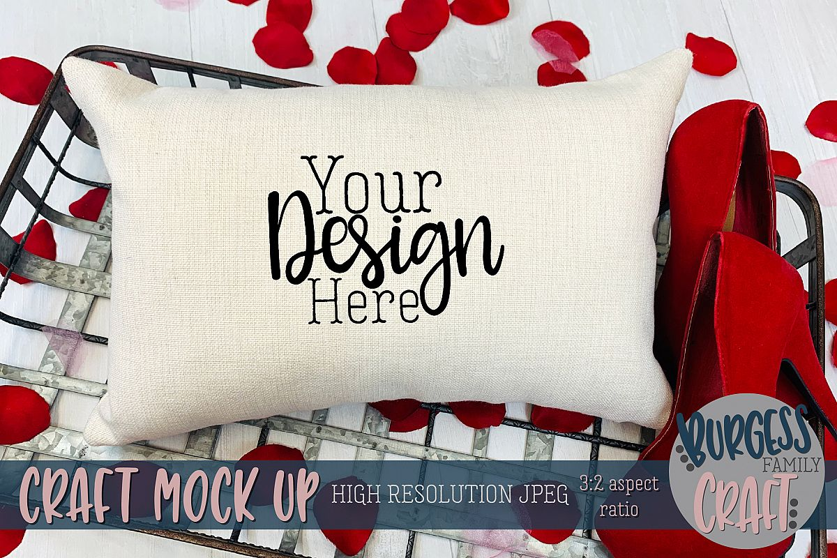 Valentine 12x18 pillow with stilettos Craft mock up example image 1