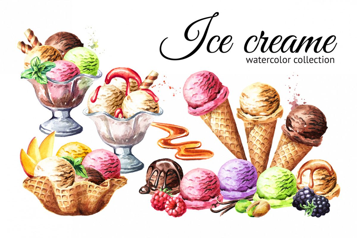 Ice cream. Watercolor collection example image 1