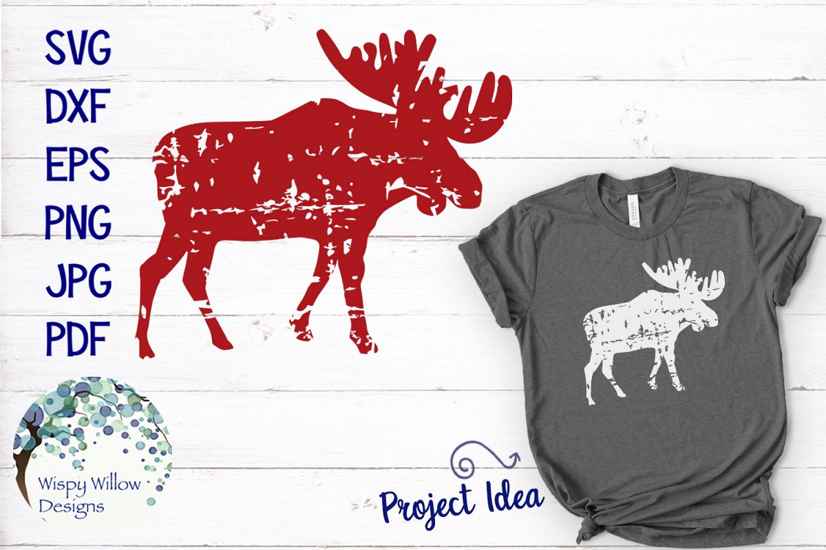 Distressed Grunge Moose | Christmas Winter SVG Cut File example image 1