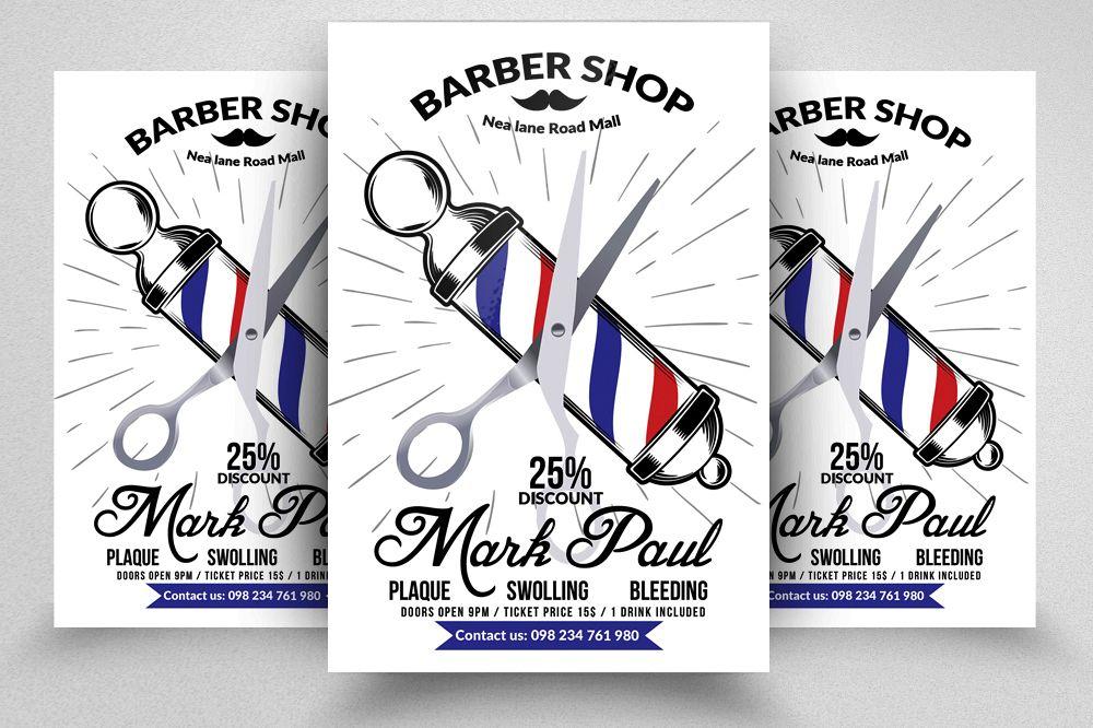 New Barber Shop Psd Flyer Templates