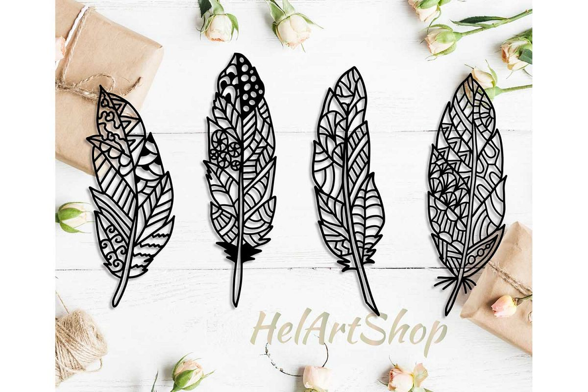 Zentangle feather, feather svg, feathers svg example image 1