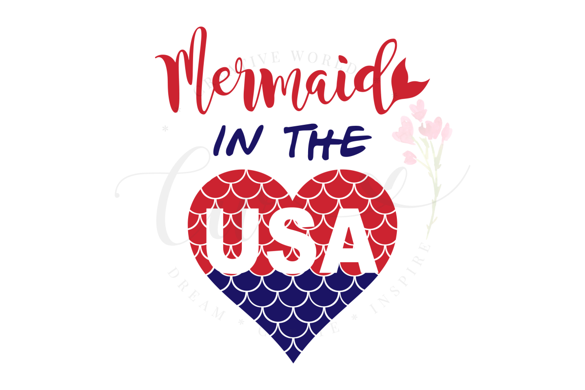 Mermaid in the USA SVG | Mermaid in the USA | Mermaid svg example image 1