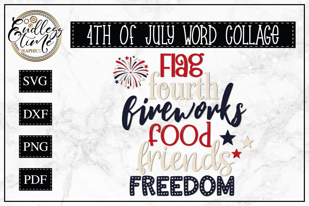 4th of July Word Collage - Favorite F Words - Patriotic SVG example image 1