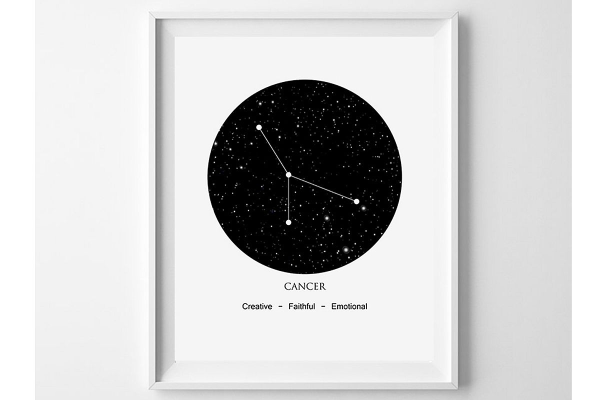 Cancer Zodiac Poster, Black and White Prints, Cancer Astro example image 1