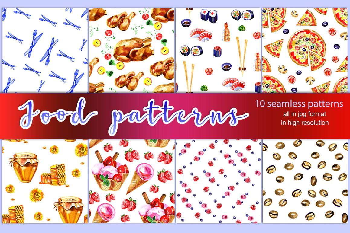 10 Watercolor food patterns example image 1