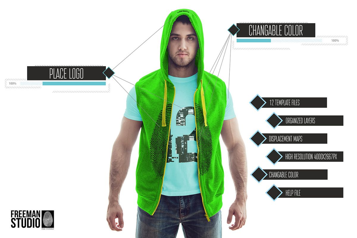 Sleeveless Hoodie Mock-Up example image 1