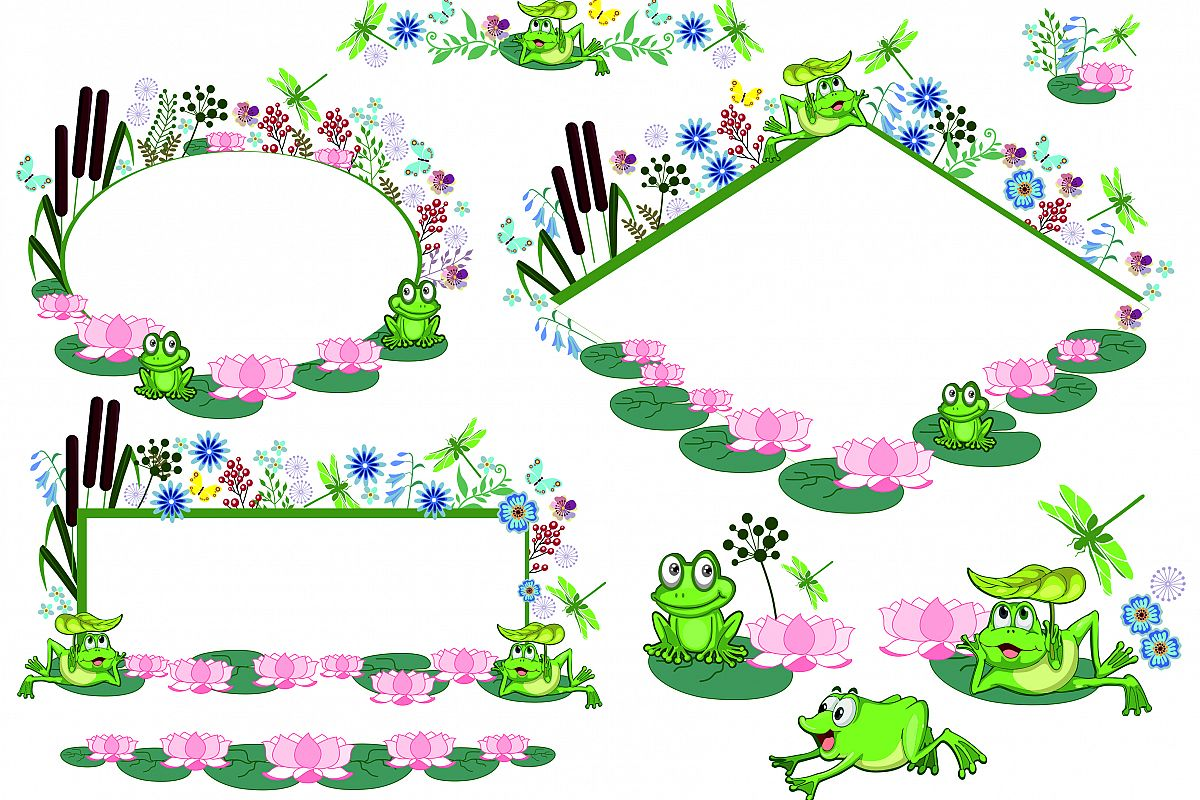 Cute Funny Frog, Clipart, Vector, SVG, PNG, Wreaths, Frames ...