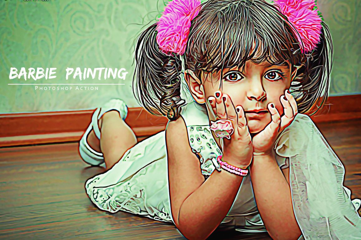 Barbie Painting Photoshop Action example image 1