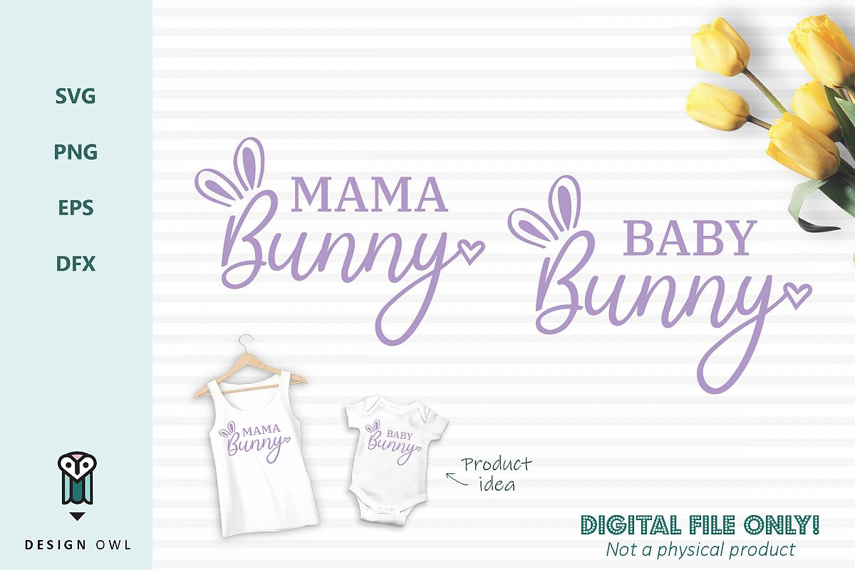 Mama bunny / Baby bunny - Easter SVG cut files example image 1