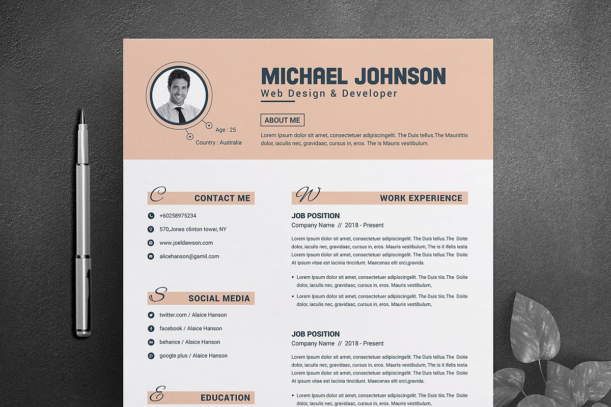 Resume Template for Word & Pages example image 1
