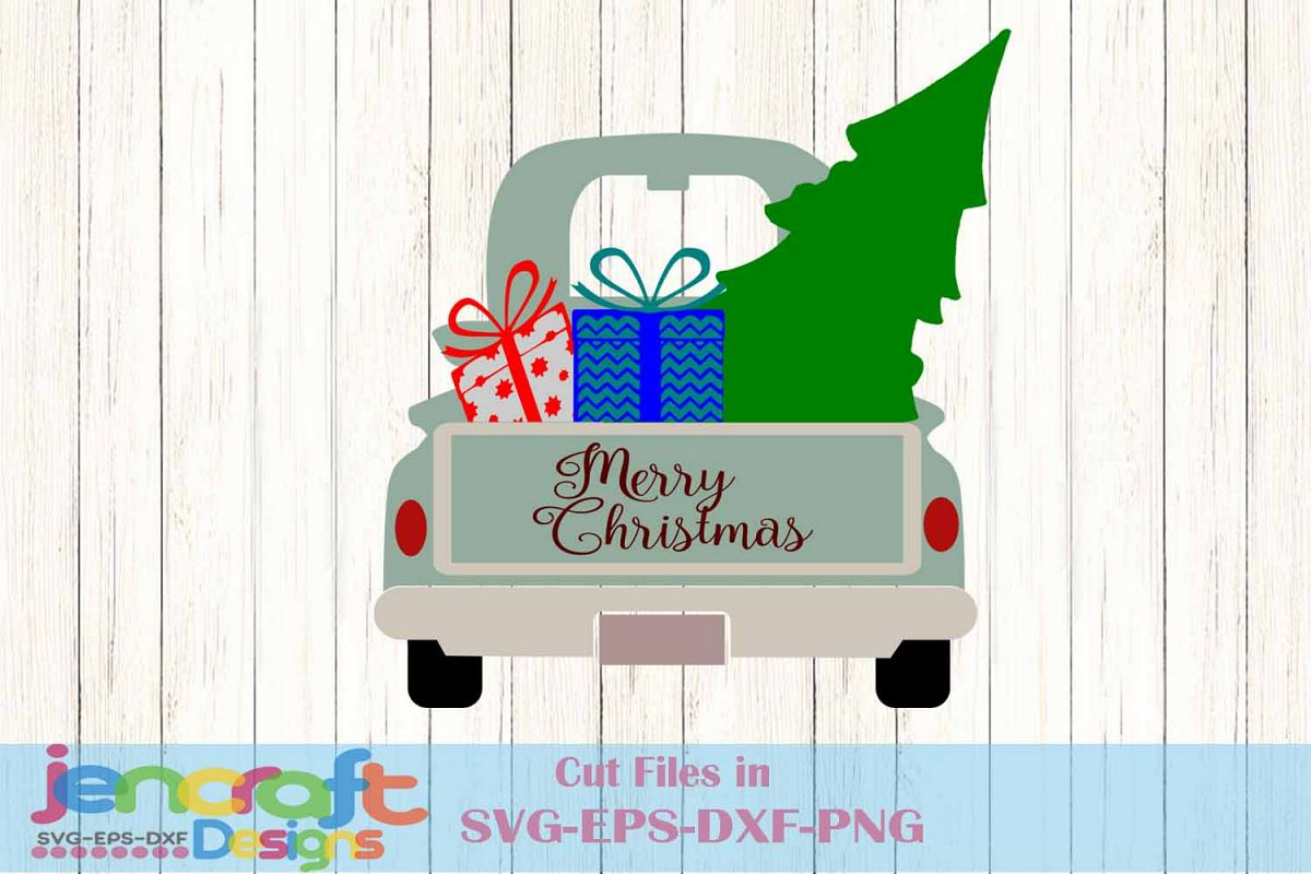 Old Red Truck With Christmas Tree In Back.Old Truck Christmas Tree Red Truck Vintage Red Svg Classic