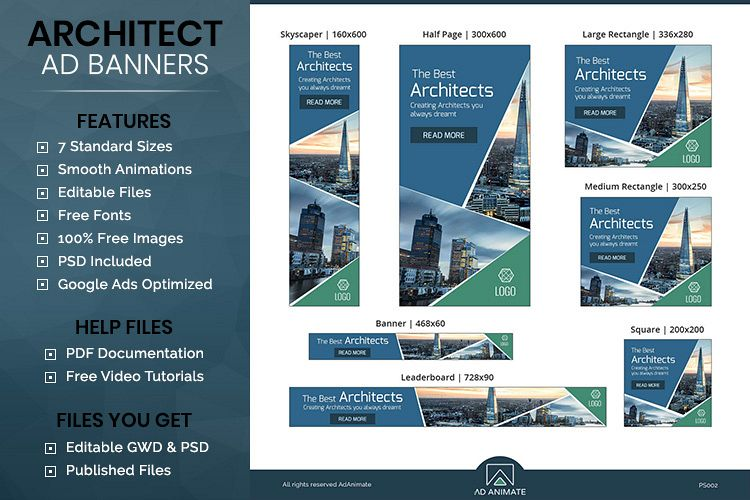 Architect Animated Ad Banner Template -PS002 example image 1