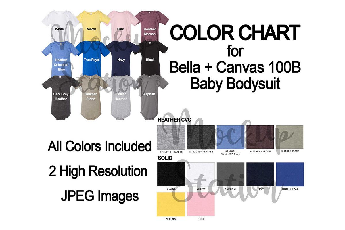Color Chart for Bella Canvas 100B Baby Bodysuit Mockup example image 1