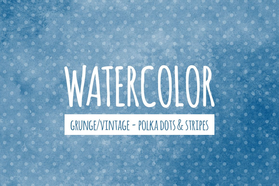 Watercolor Texture Backgrounds With Dots & Stripes - Blue example image 1