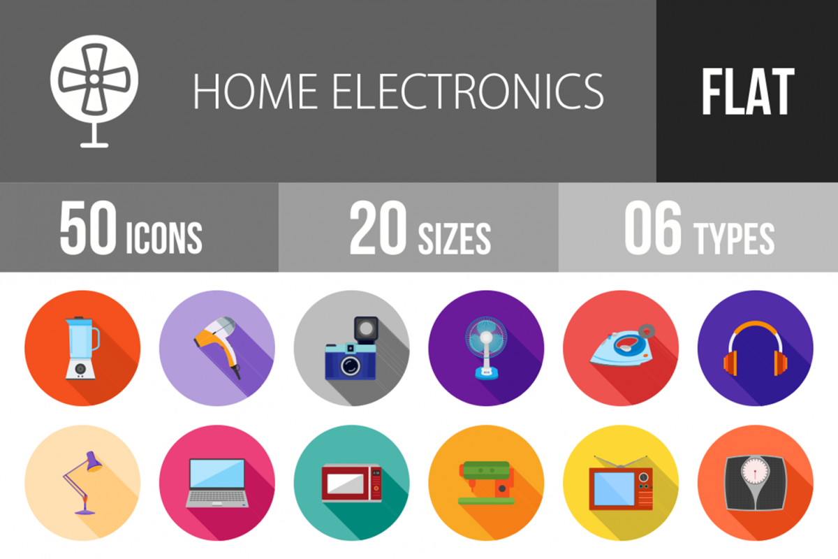 50 Home Electronics Flat Long Shadow Icons example image 1