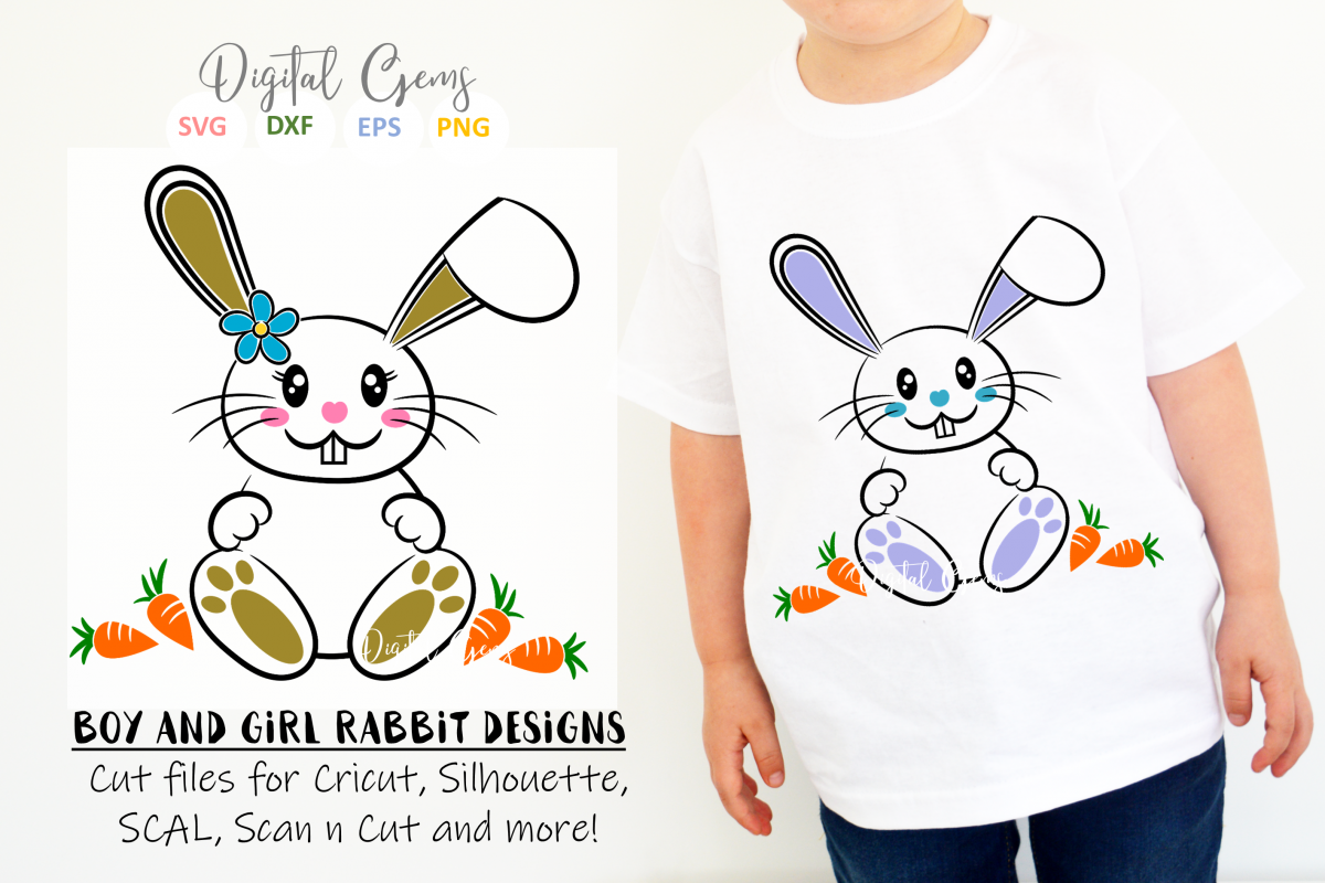 Bunny Rabbits, Easter SVG / DXF / EPS / PNG files example image 1