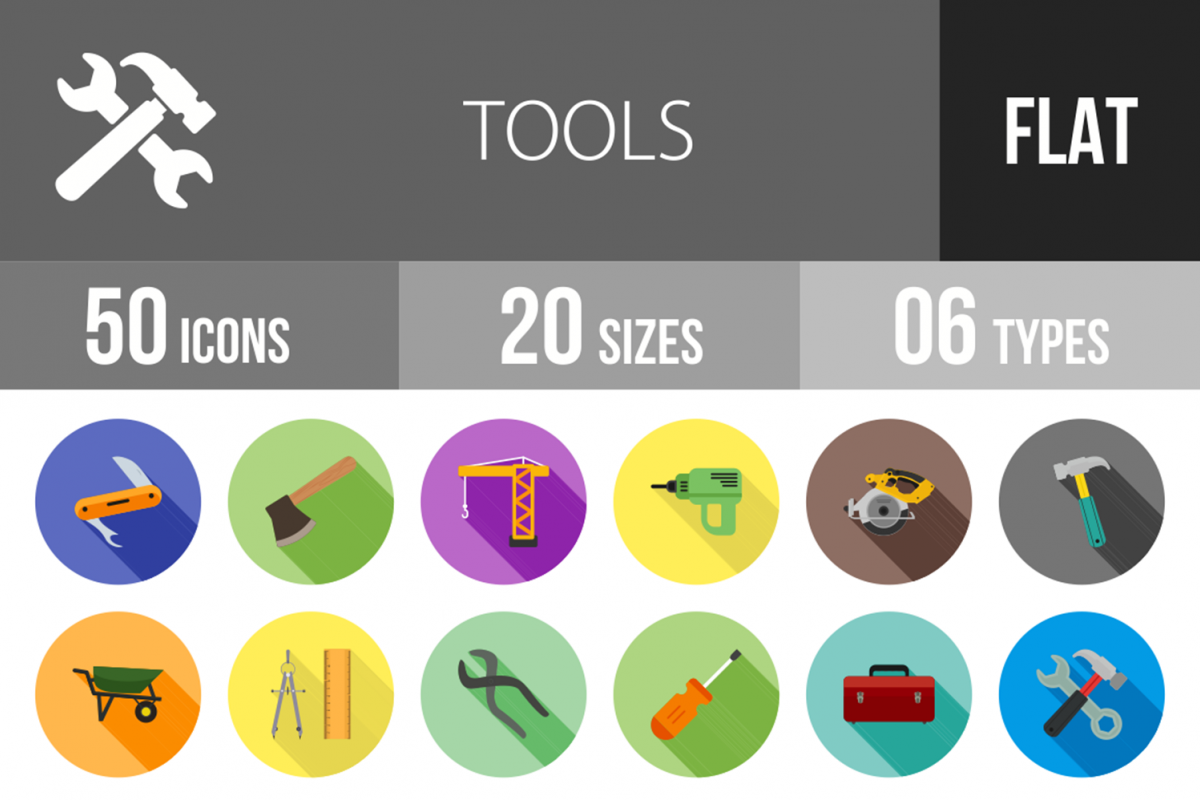 50 Tools Flat Long Shadow Icons example image 1
