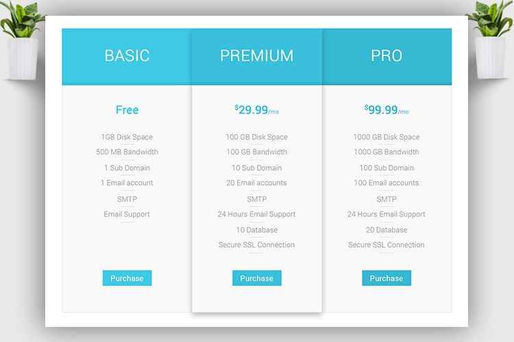 Web Pricing Chart example image 1