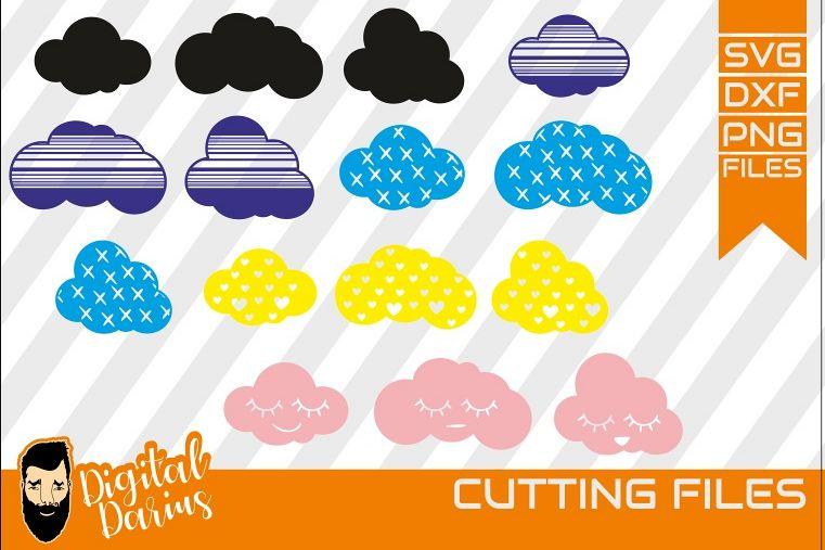 15x Cloud svg, Clouds Weather svg, Cartoon Clouds, bundle example image 1