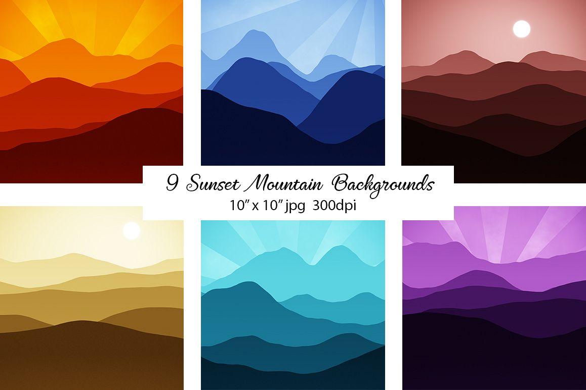 Sunset Mountain Backgrounds Bundle example image 1