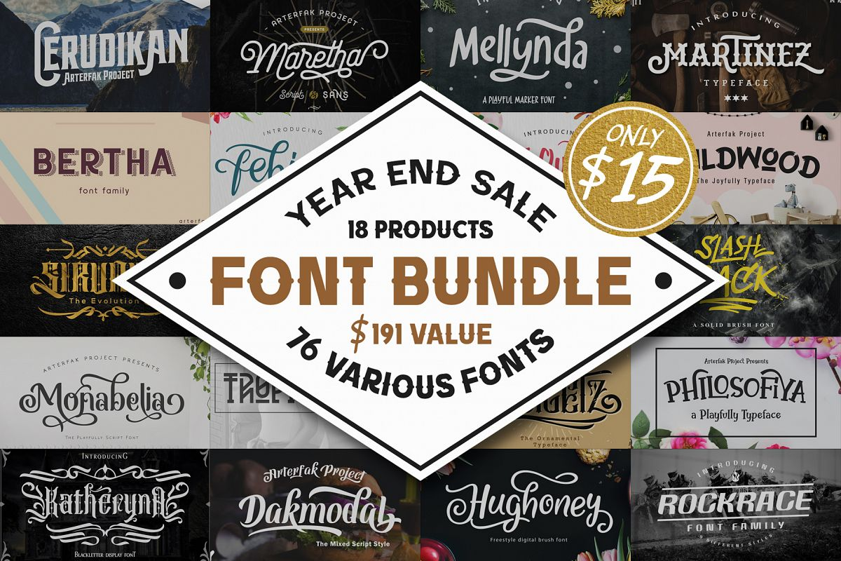 76 Fonts in 1 Font Collection example image 1