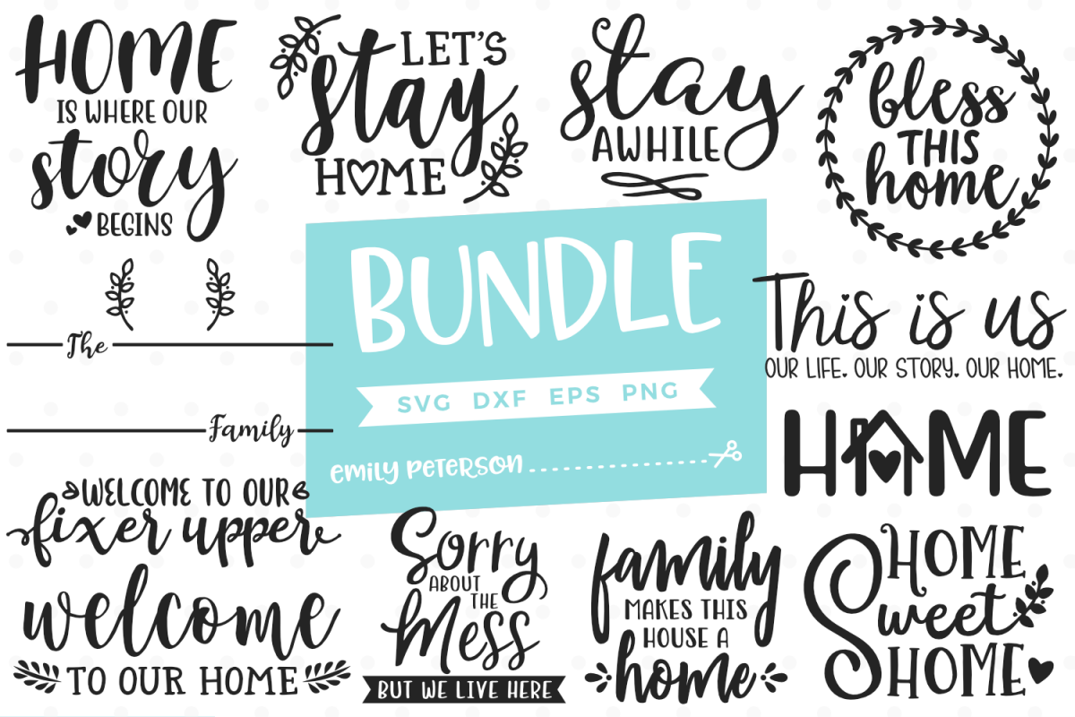 Home Bundle 12 Designs SVG DXF EPS PNG example image 1