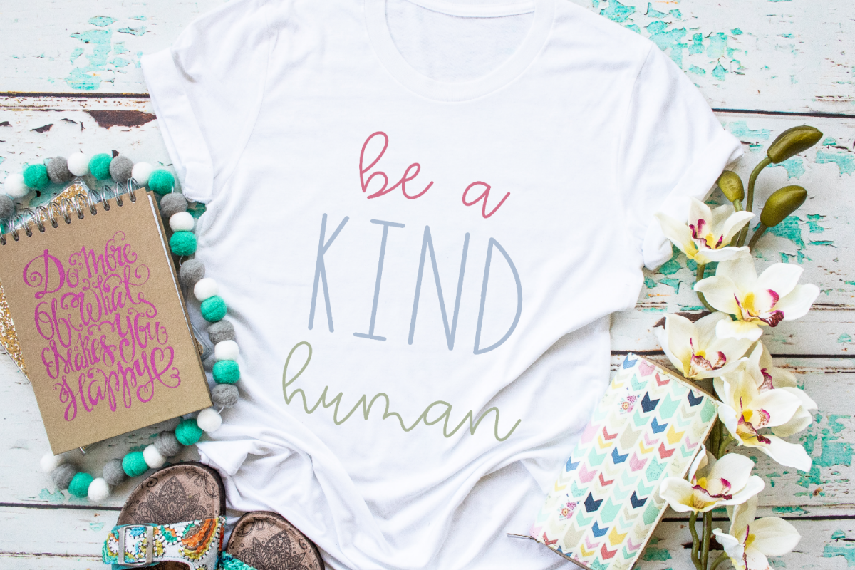Inspirational - Anti Bully - Kindness - Be A Kind Human SVG example image 1