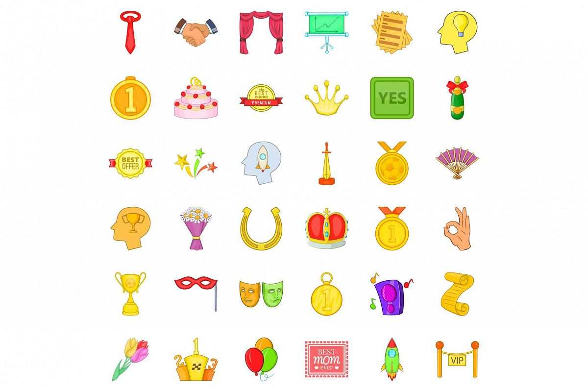 Good trophy icons set, cartoon style example image 1