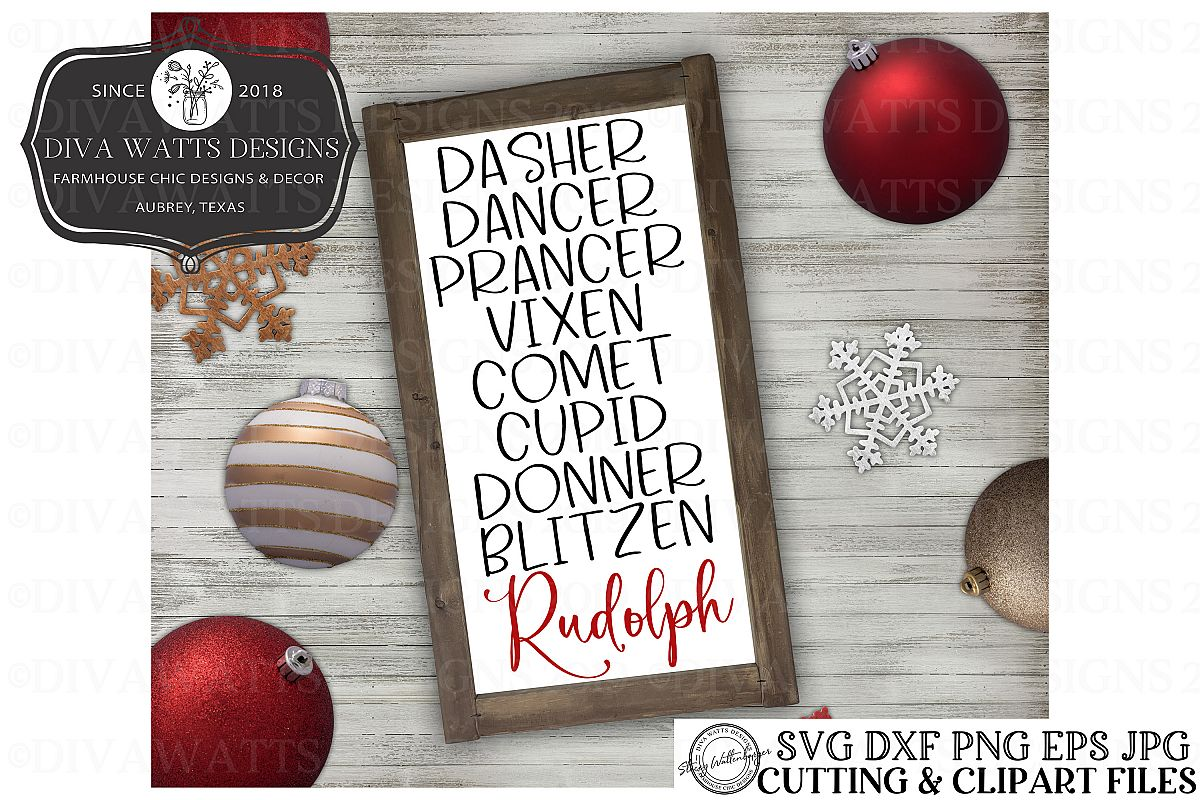Christmas Holiday Reindeer Names Cutting File example image 1
